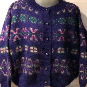 Benetton Vintage 1980's Purple Mohair Cardigan
